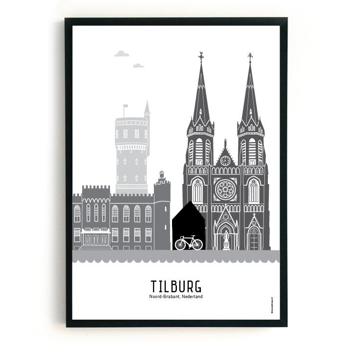 Poster Tilburg  zwart-wit-grijs