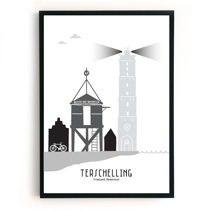 Poster Terschelling zwart-wit-grijs