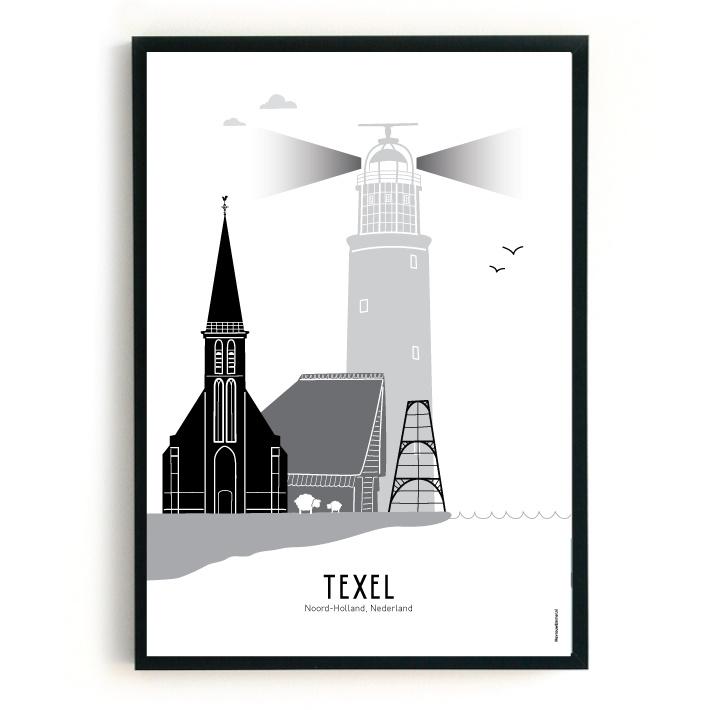 Poster Texel zwart-wit-grijs