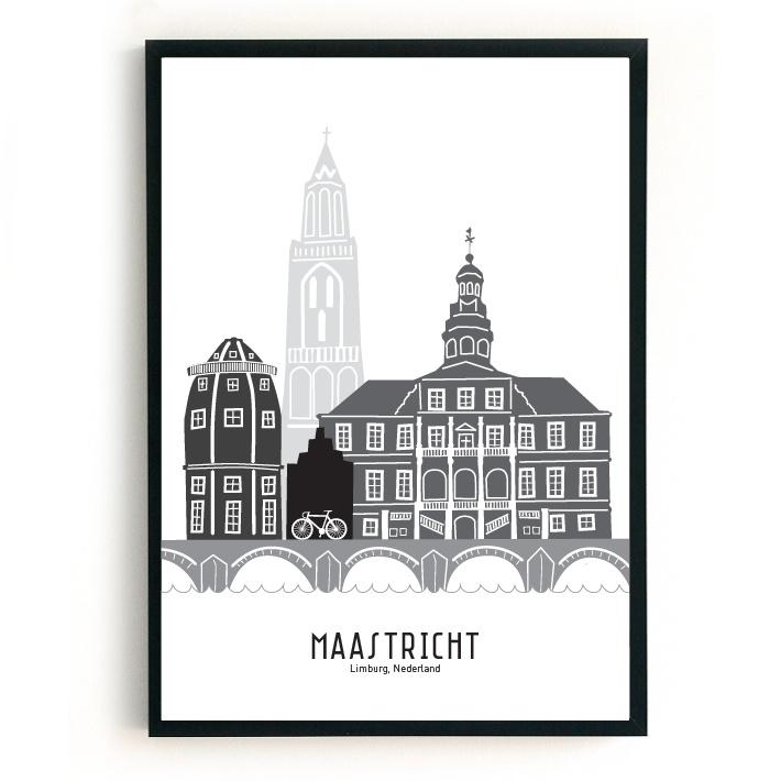 Maastricht | A3 Poster - zwart-wit-grijs SALE