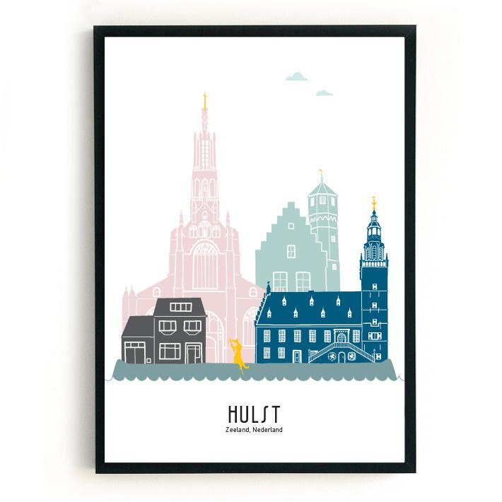 Hulst | A4 Poster -  kleur (grijs huis) SALE