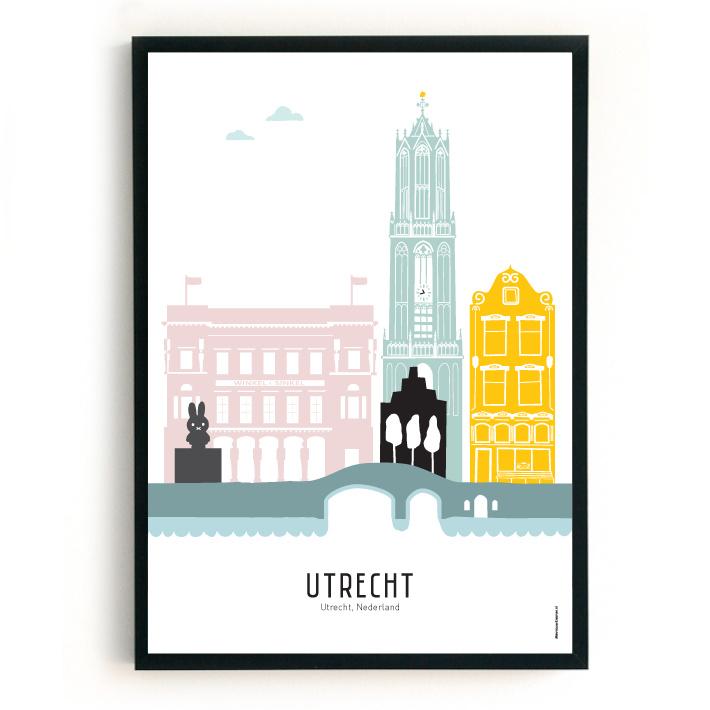 Poster Utrecht in kleur - Café België