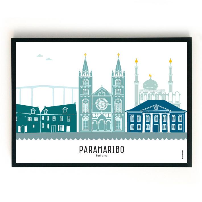 Poster Paramaribo in kleur - landscape/liggend