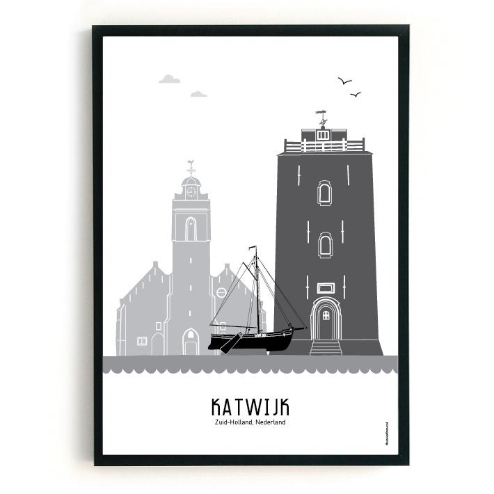 Poster Katwijk aan Zee zwart-wit-grijs