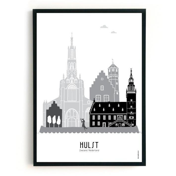Poster Hulst zwart-wit-grijs