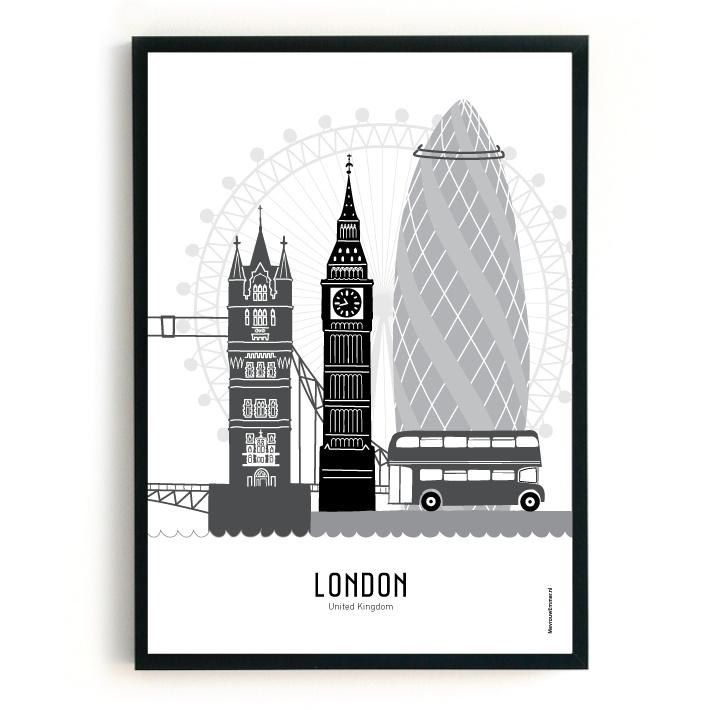 Poster London zwart-wit-grijs