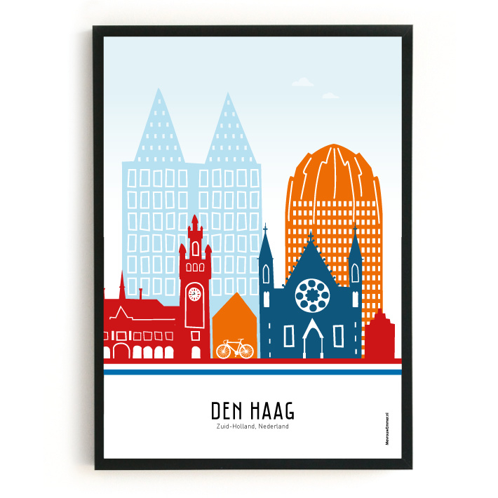 Den Haag   A4 Poster -  rood-wit-blauw SALE