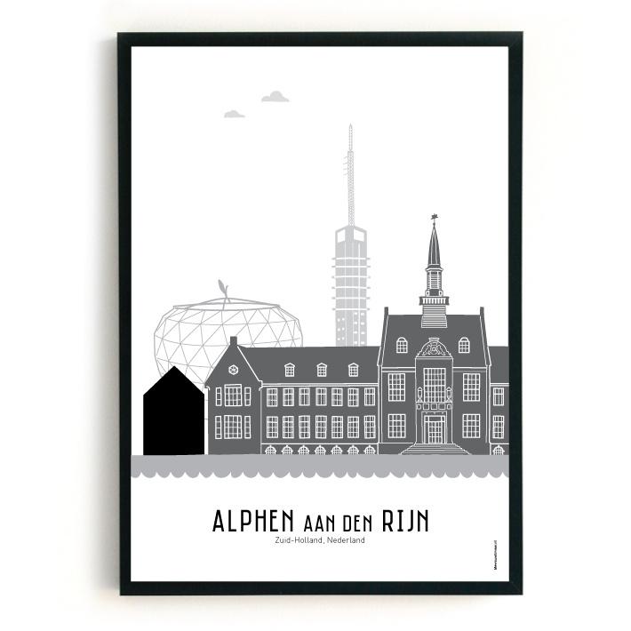 Poster Alphen aan den Rijn zwart-wit-grijs