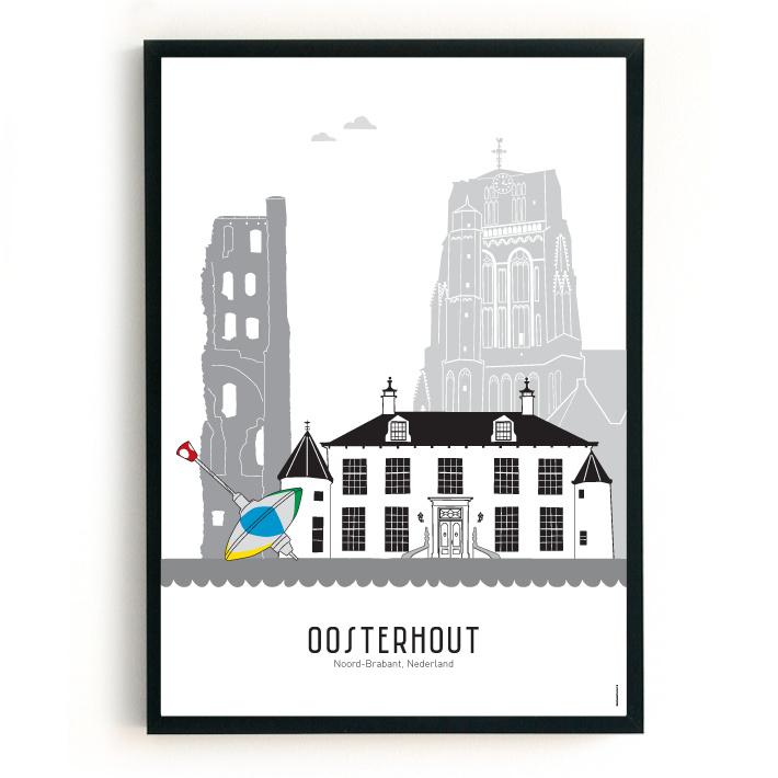 Poster Oosterhout zwart-wit-grijs
