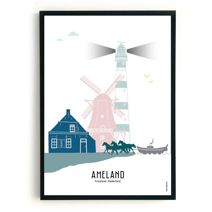 Poster Ameland in kleur