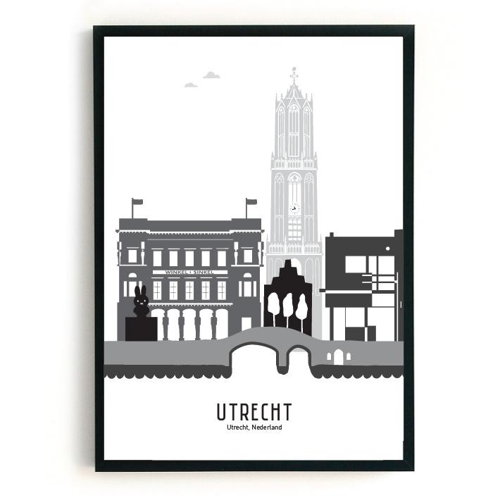 Poster Utrecht zwart-wit-grijs