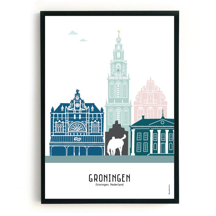 Poster Groningen in kleur
