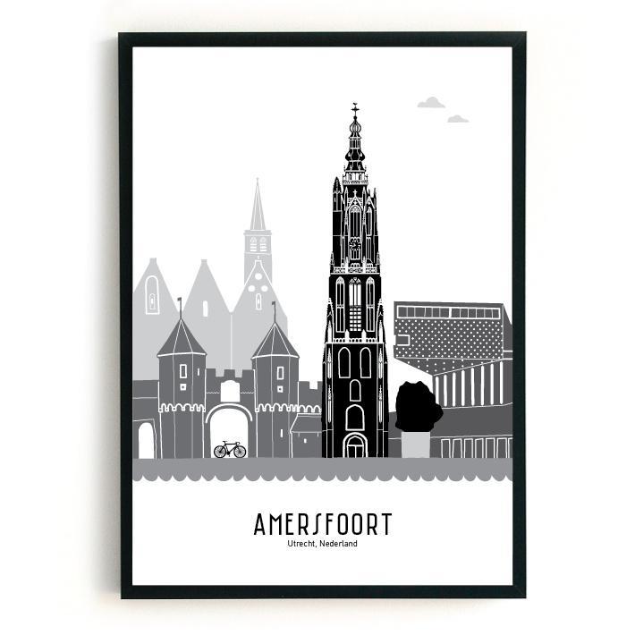 Poster Amersfoort zwart-wit-grijs