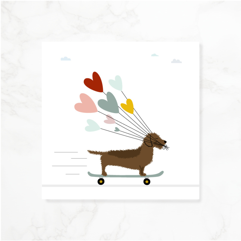 Wenskaart teckel Frits - Skateboard, liefde (blanco)