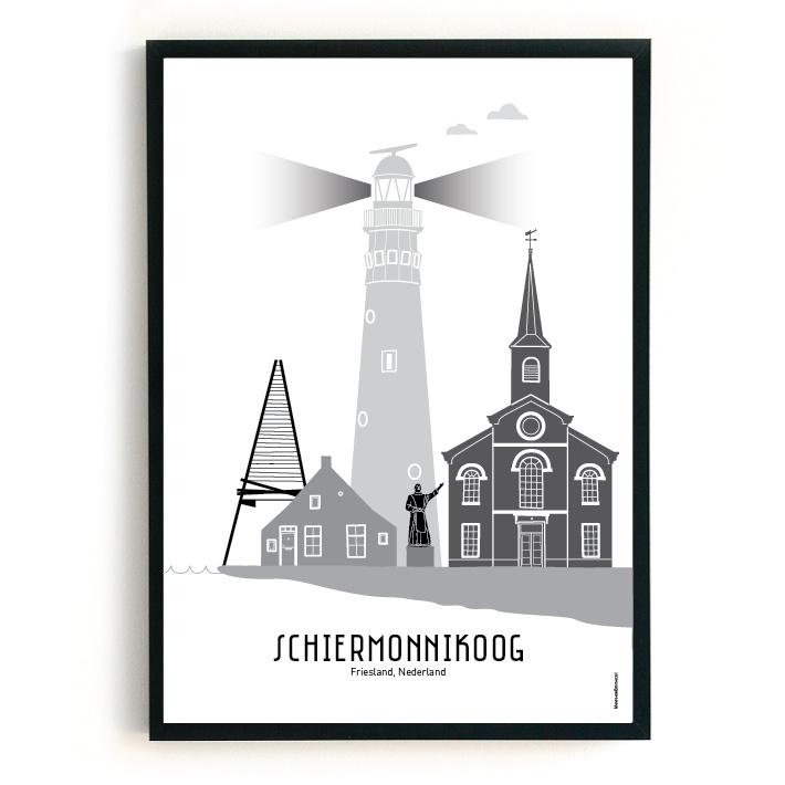 Poster Schiermonnikoog zwart-wit-grijs