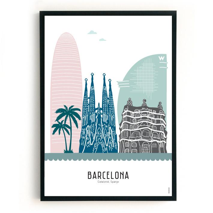 Poster Barcelona in kleur