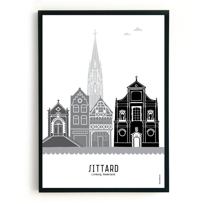 Poster Sittard zwart-wit-grijs
