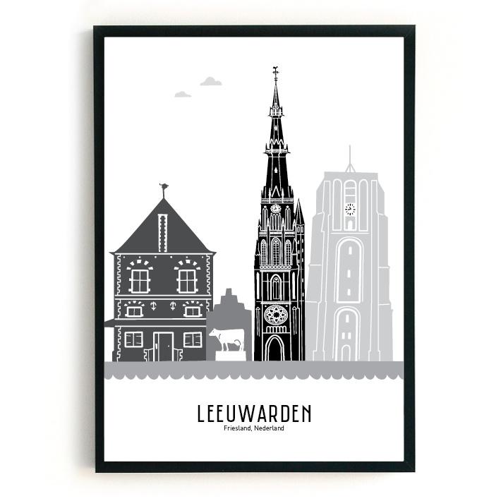 Poster Leeuwarden zwart-wit-grijs