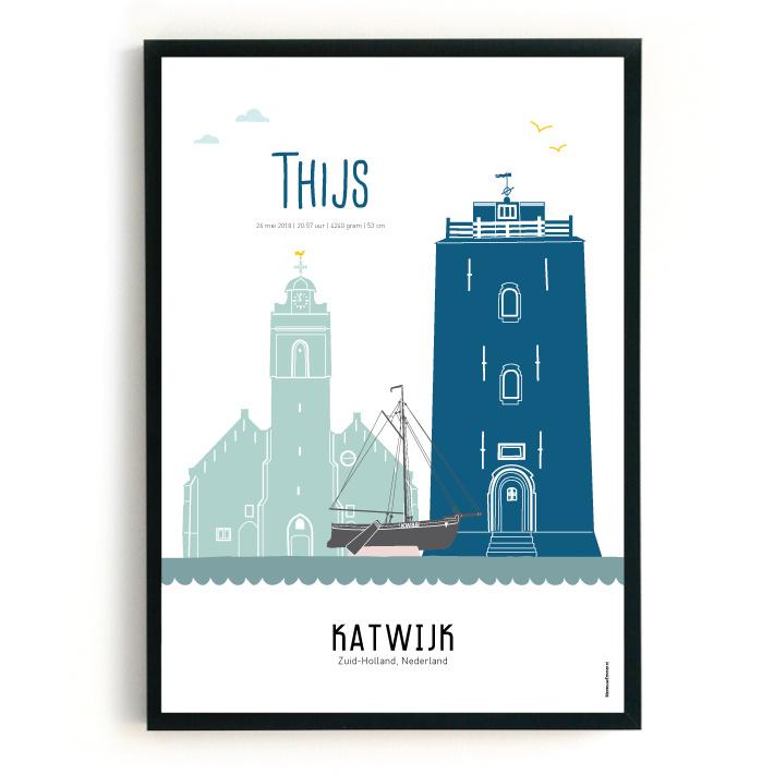 Geboorteposter Katwijk - Thijs