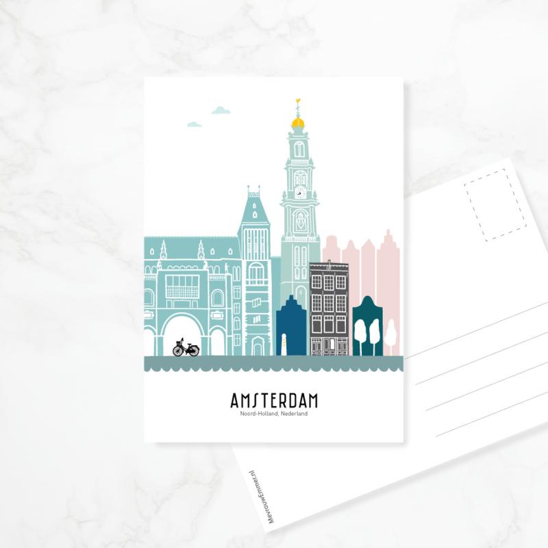 Ansichtkaart Amsterdam - kleur