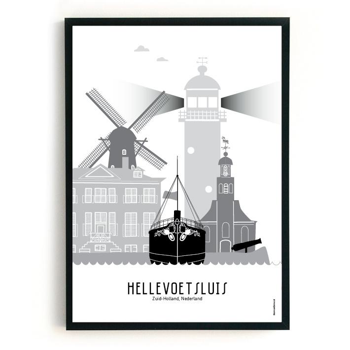 Poster Hellevoetsluis zwart-wit-grijs