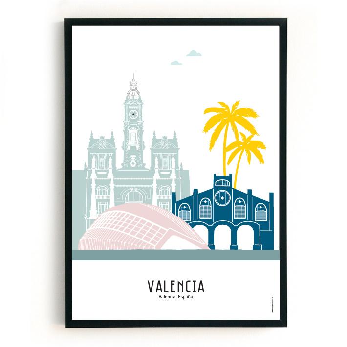 Poster Valencia in kleur