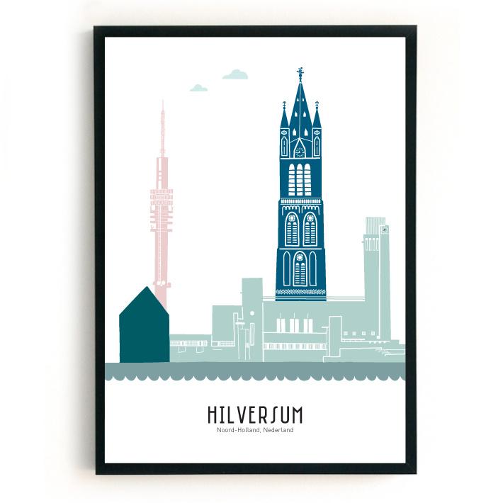 Poster Hilversum in kleur