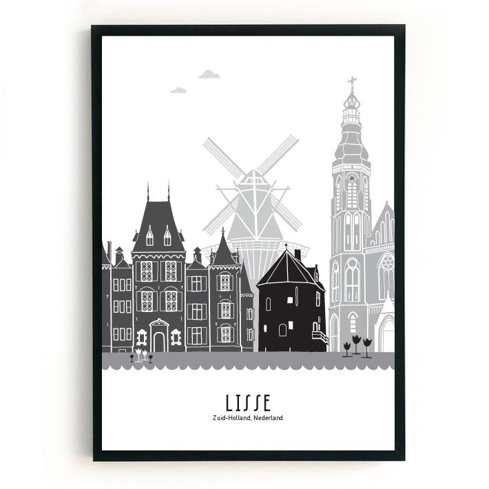 Poster Lisse zwart-wit-grijs