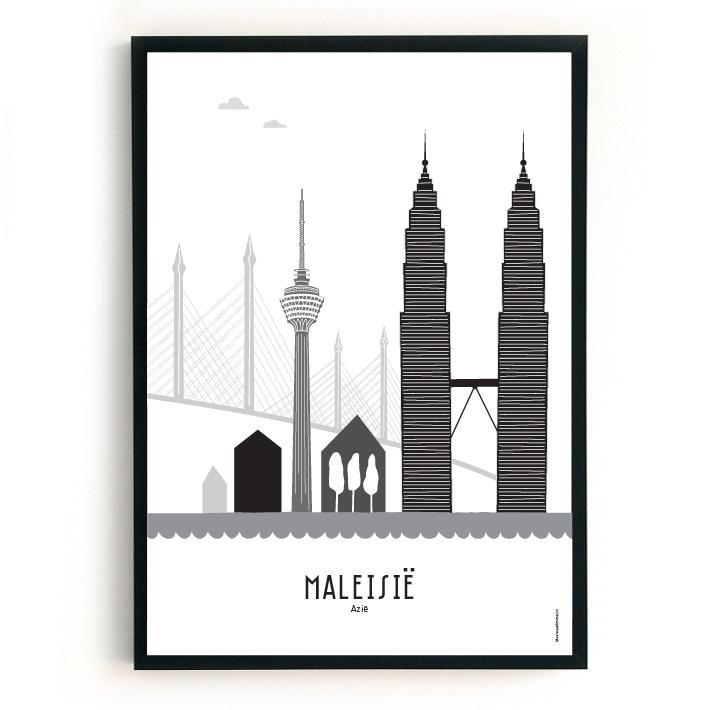 Poster Maleisië zwart-wit-grijs