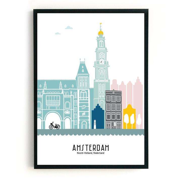 Poster Amsterdam in kleur