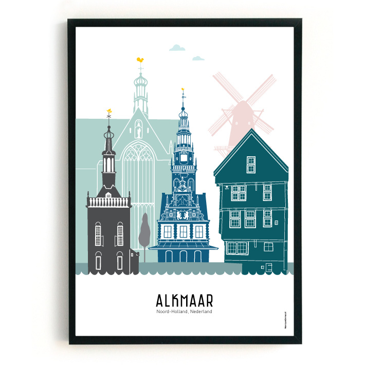 Poster Alkmaar in kleur