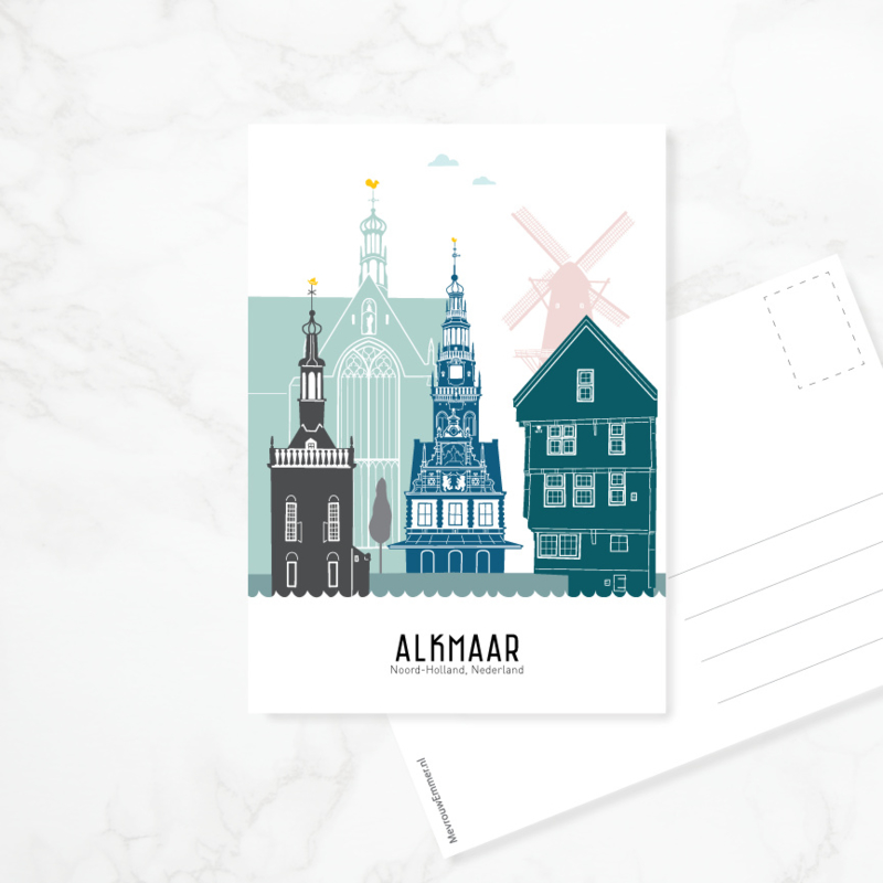 Ansichtkaart Alkmaar - kleur