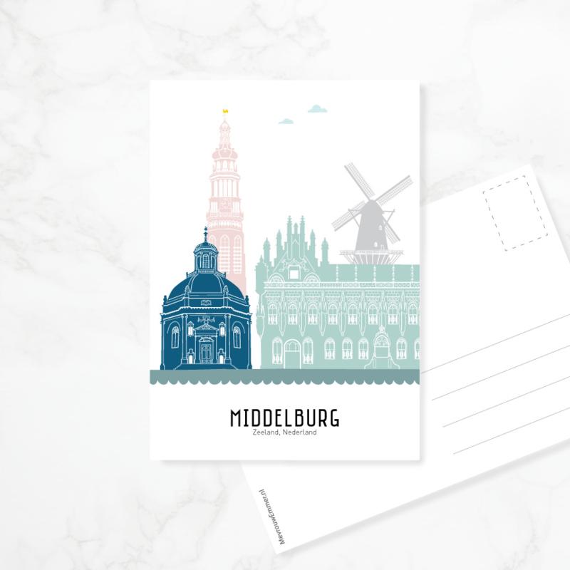 Ansichtkaart Middelburg - kleur