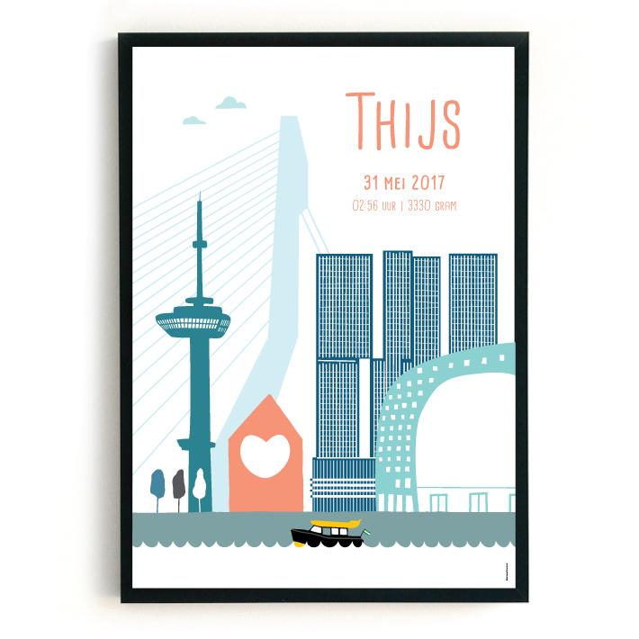Geboorteposter Rotterdam - Thijs