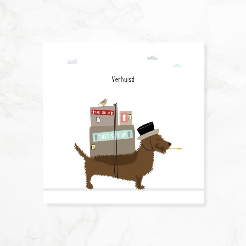Wenskaart teckel Frits - Verhuisd