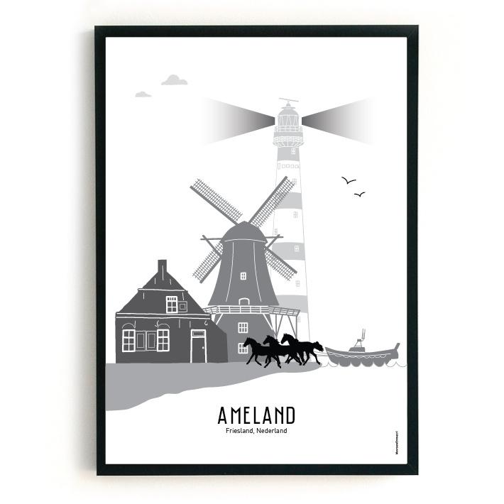 Poster Ameland zwart-wit-grijs