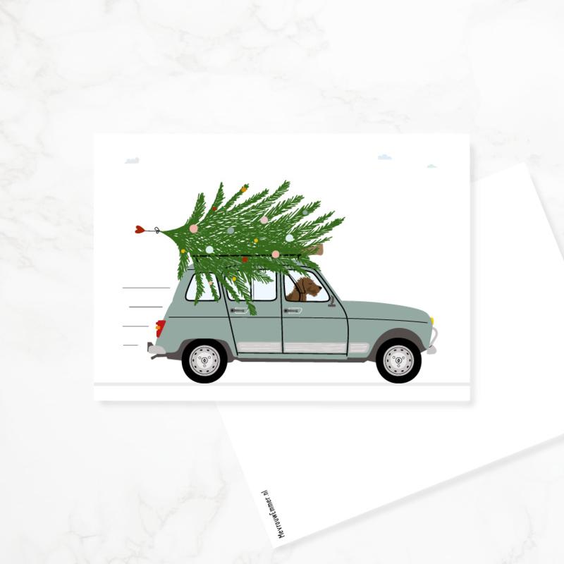 4 kerstkaartjes - Renault 4, teckel