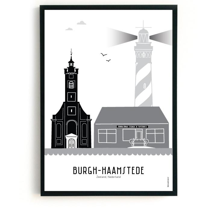Poster Burgh-Haamstede zwart-wit-grijs