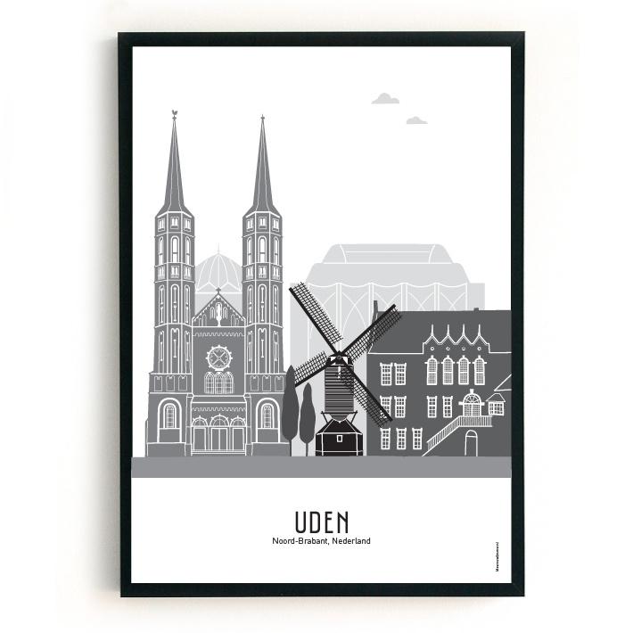 Poster Uden zwart-wit-grijs