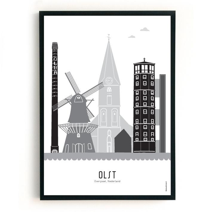 Poster Olst zwart-wit-grijs