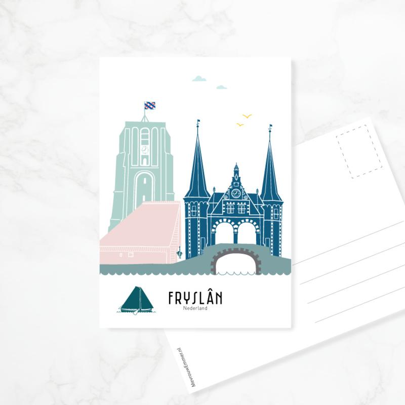 Ansichtkaart Friesland | Fryslân - kleur