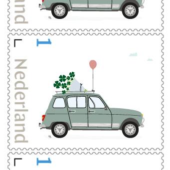 Postzegel 1 : 'Bosje geluk'