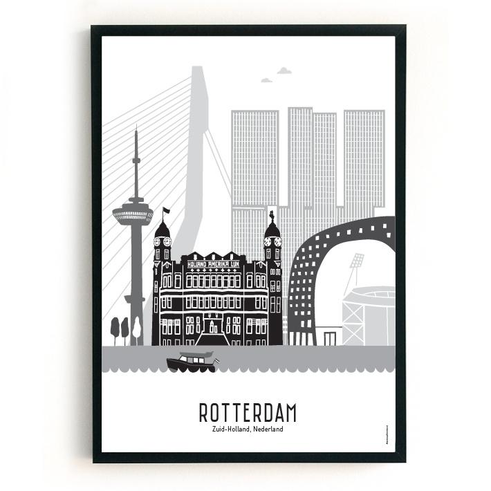 Poster Rotterdam zwart-wit-grijs - Kuip