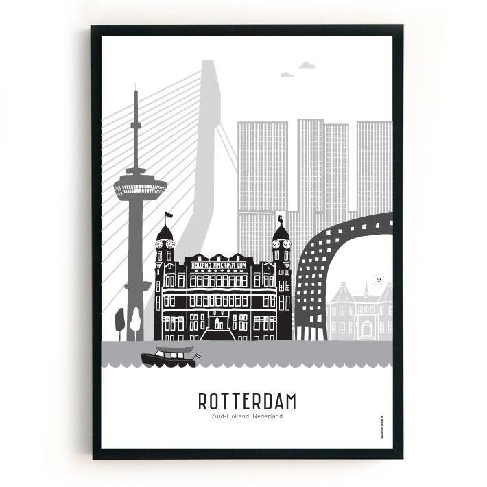 Poster Rotterdam + Kasteel Sparta - zwart-wit-grijs