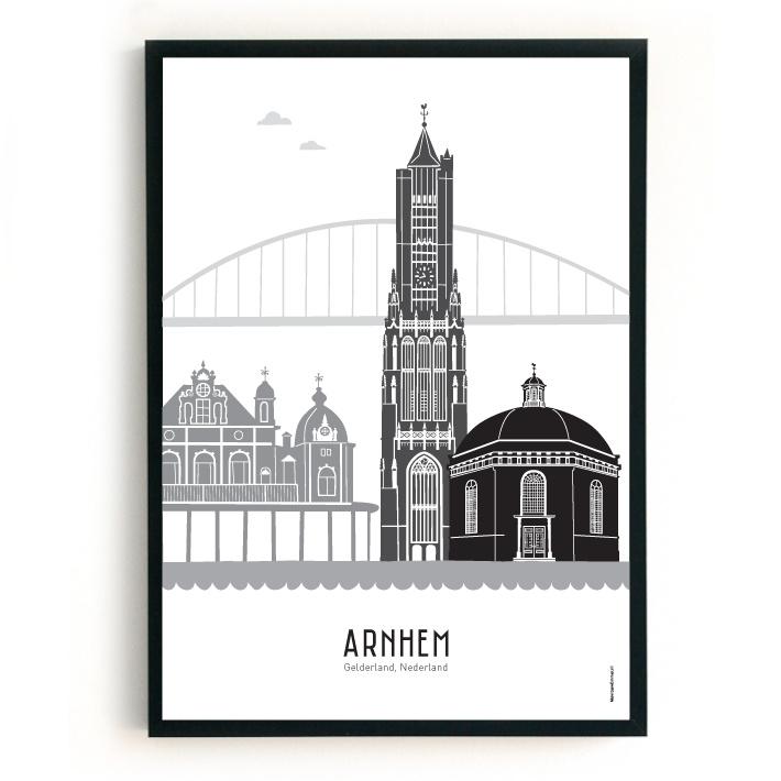 Poster Arnhem + Koepelkerk  zwart-wit-grijs