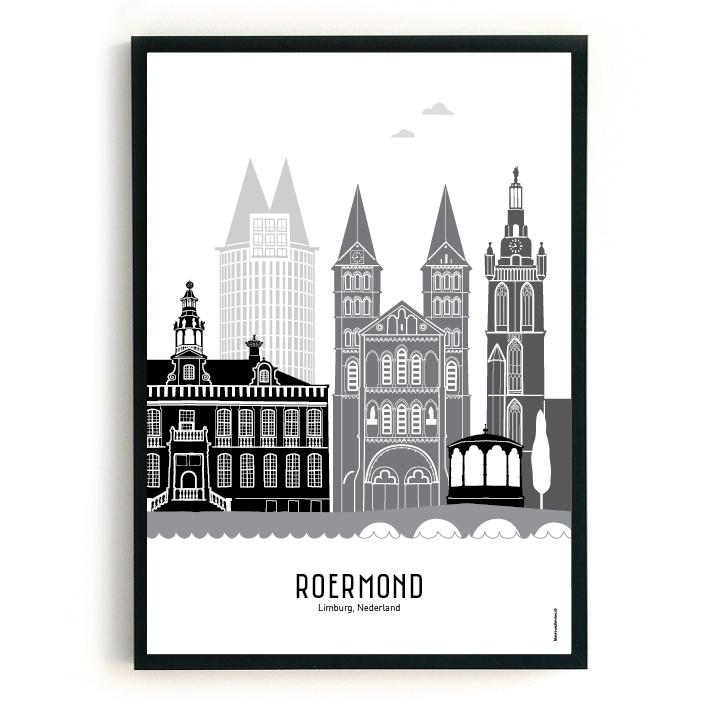 Poster Roermond zwart-wit-grijs