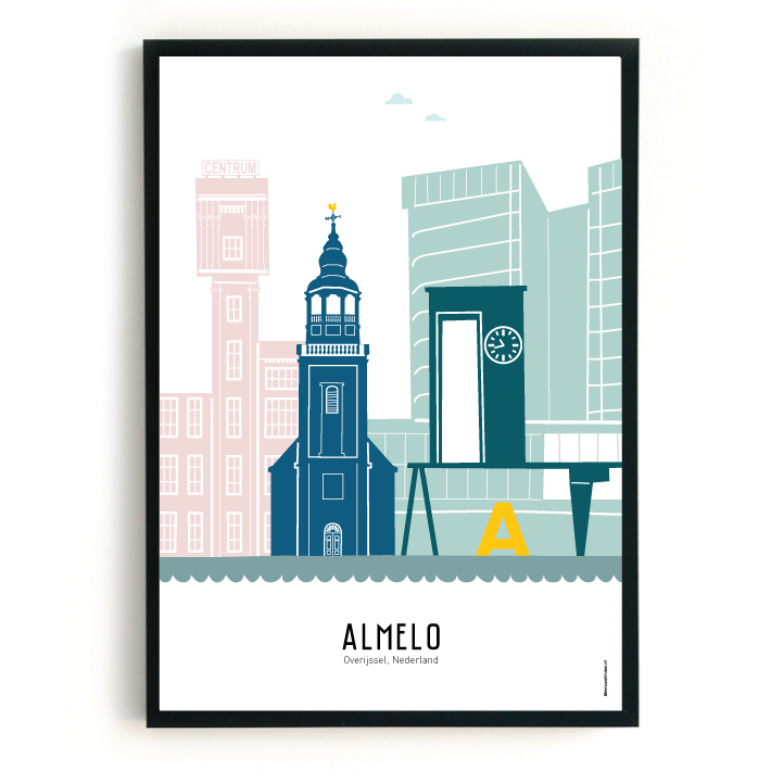 Poster Almelo in kleur