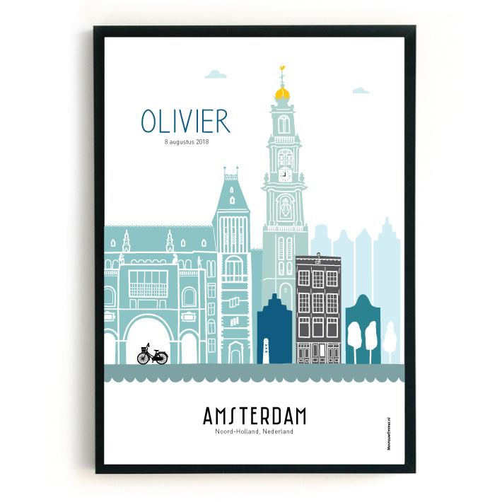 Geboorteposter Amsterdam - Olivier