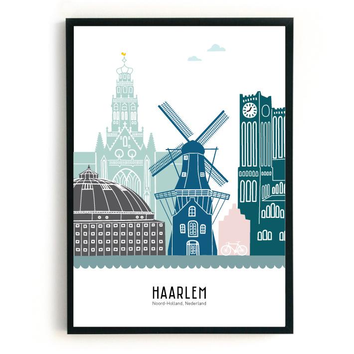 Poster Haarlem in kleur