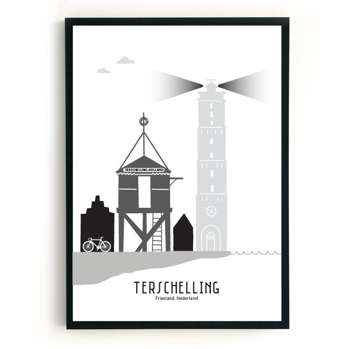 Terschelling | 50x70 cm Poster  - zwart-wit-grijs SALE